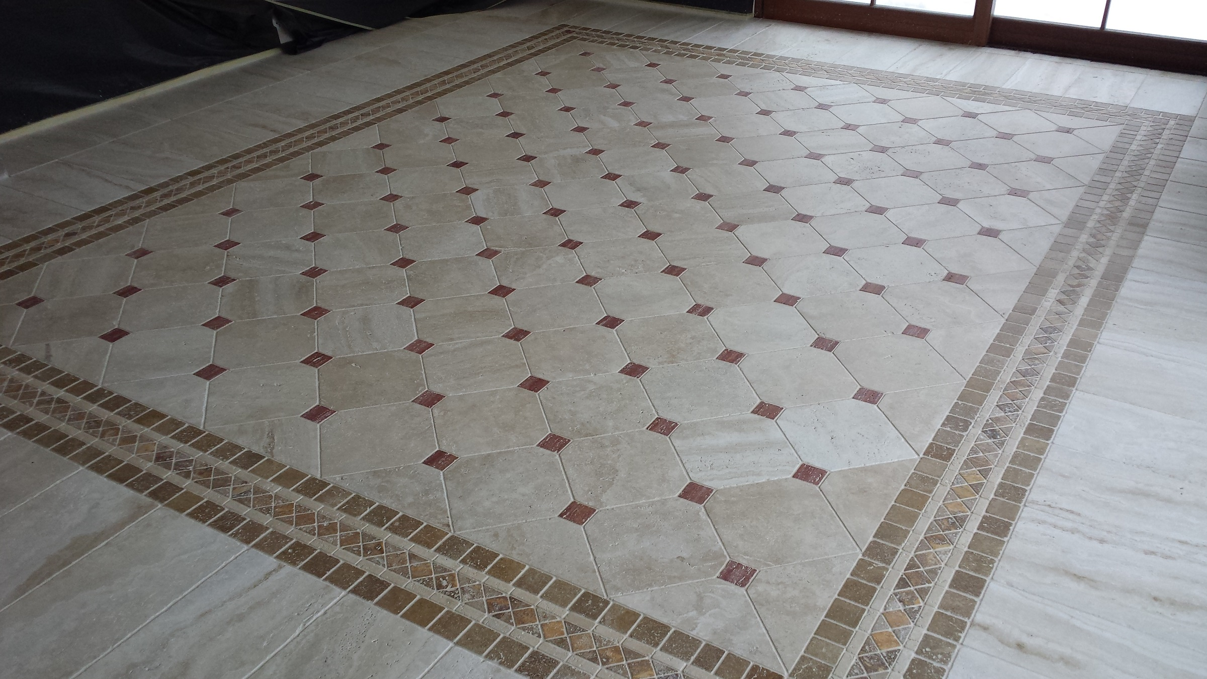 Travertino Beige and Red floor